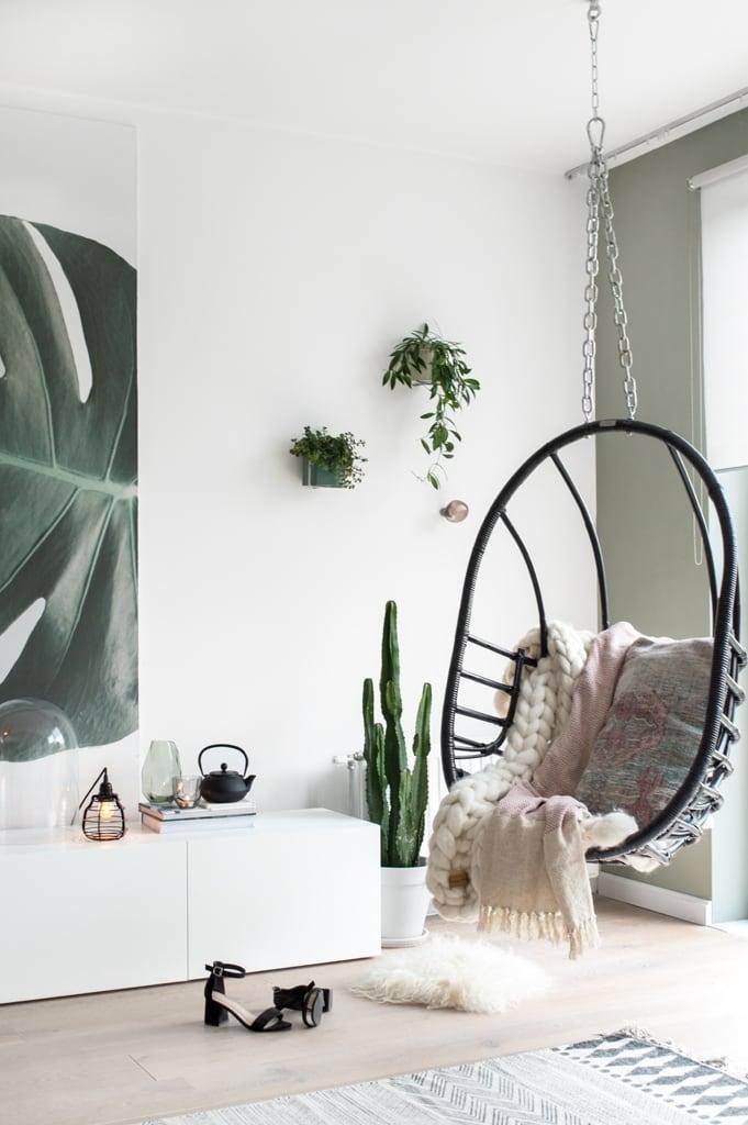 Hangstoel botanisch behang