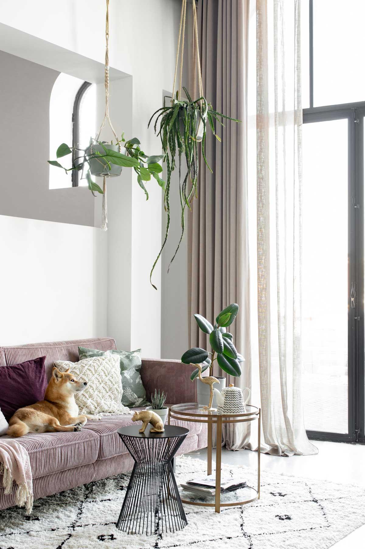 Velours gordijnen woonkamer - Tanja van Hoogdalem