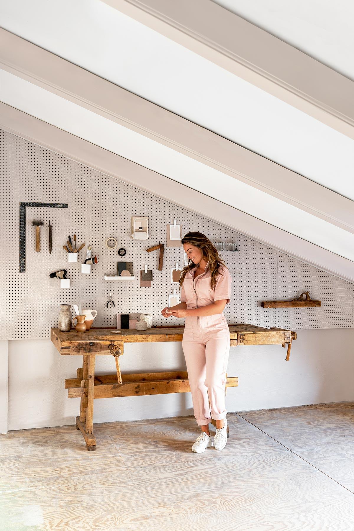 DIY studio oude werkbank - Tanja van Hoogdalem