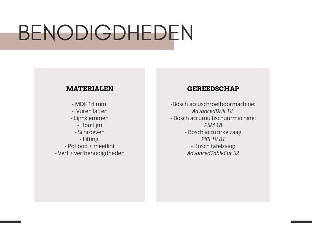 Benodigdheden DIY hoofdbord bed - Tanja van Hoogdalem